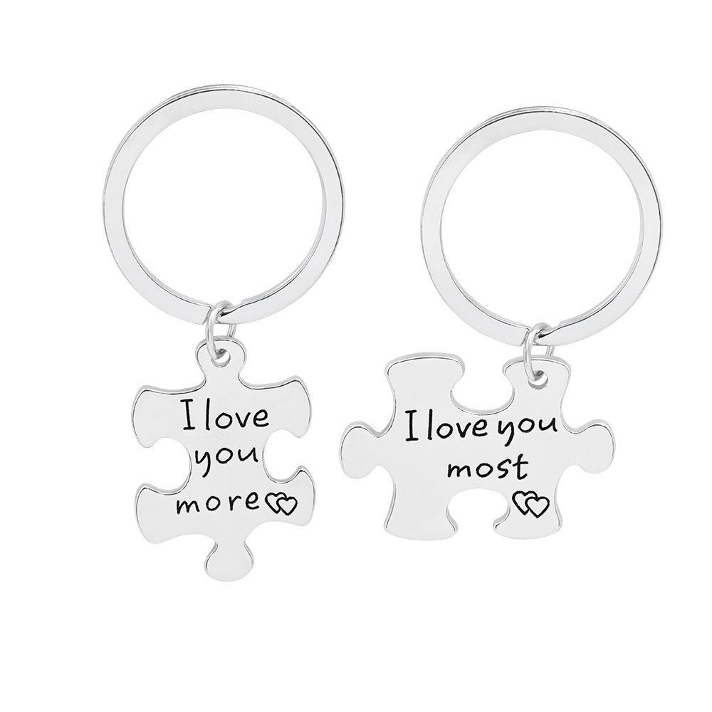 Valentinstag-Geschenk-Neuheit Schlüsselanhänger Zink-Legierung Ich liebe dich am meisten personifizieren personifizieren Schlüsselliebhaber Keychain-Inhaber