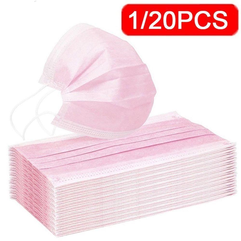 Masque anti-poussière jetable Barreau d'oreille élastique Face anti-haze rose 1 / 20pcs Wiovs Oedaq