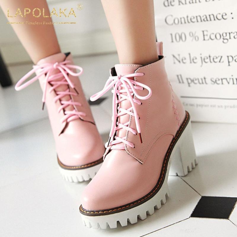 Lapolaka Heißer Verkauf 2020 Große Größe 43 Chunky High Heels Knöchelstiefel Frau Schuhe Plattform Schnürung Concis Spring Herbst Boots1