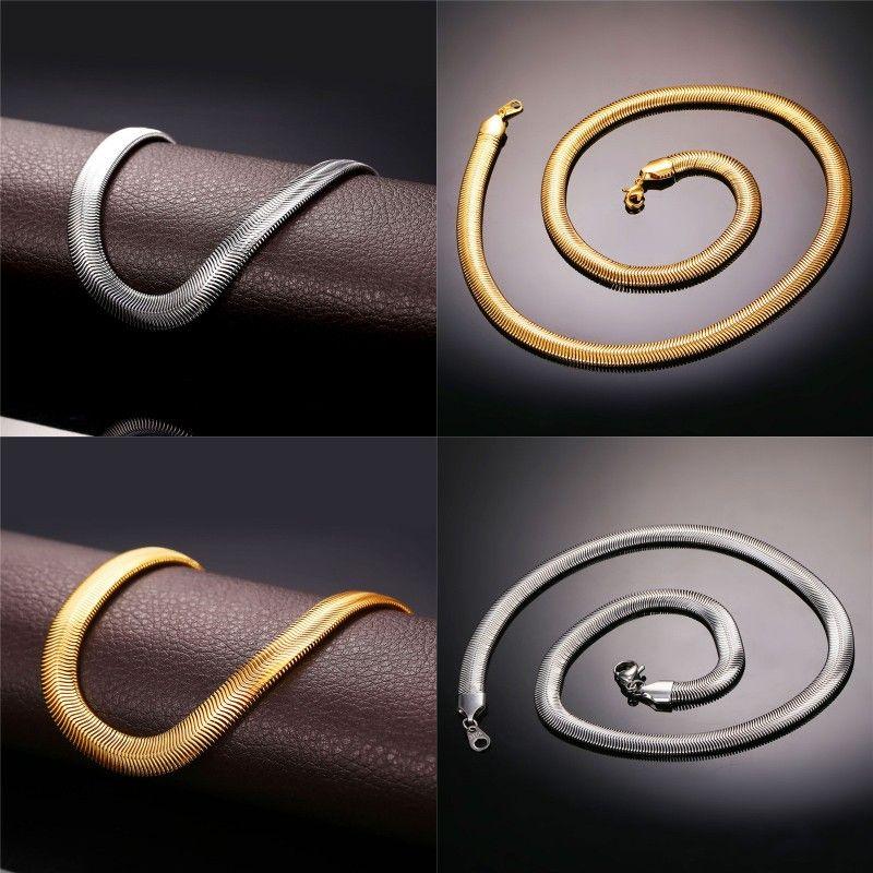 """Halsketten mit """"18K"""" Stempel Mode Männer Schmuck Großhandel Freies Verschiffen 18K echte Vergoldung 5 mm 55 cm Schlangenkette Halskette N336 12 J2"""