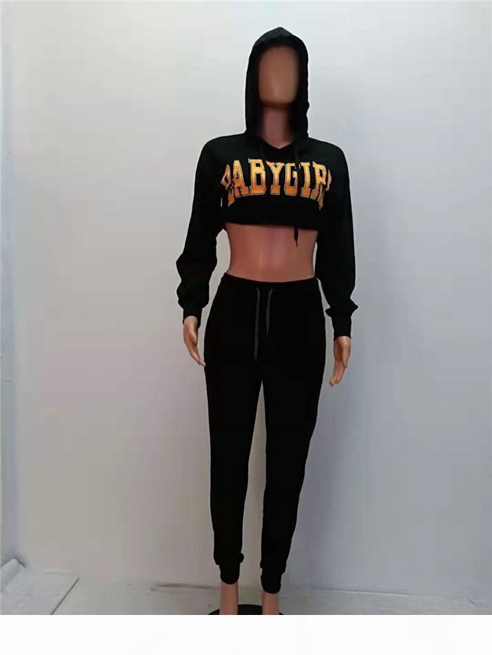 Diseñador de mujeres de otoño 2 unids Pantalones Casual Conjunto de deportes con capucha para mujer Traje de 2 piezas Moda Carta impresa Ropa impresa