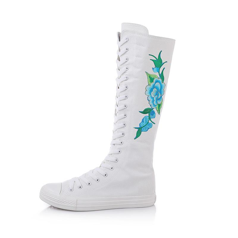 2021 Korean fashion interpretation actor embroidered dance dancing lace-up side zipper ultra-high boots canvas women's shoes trend