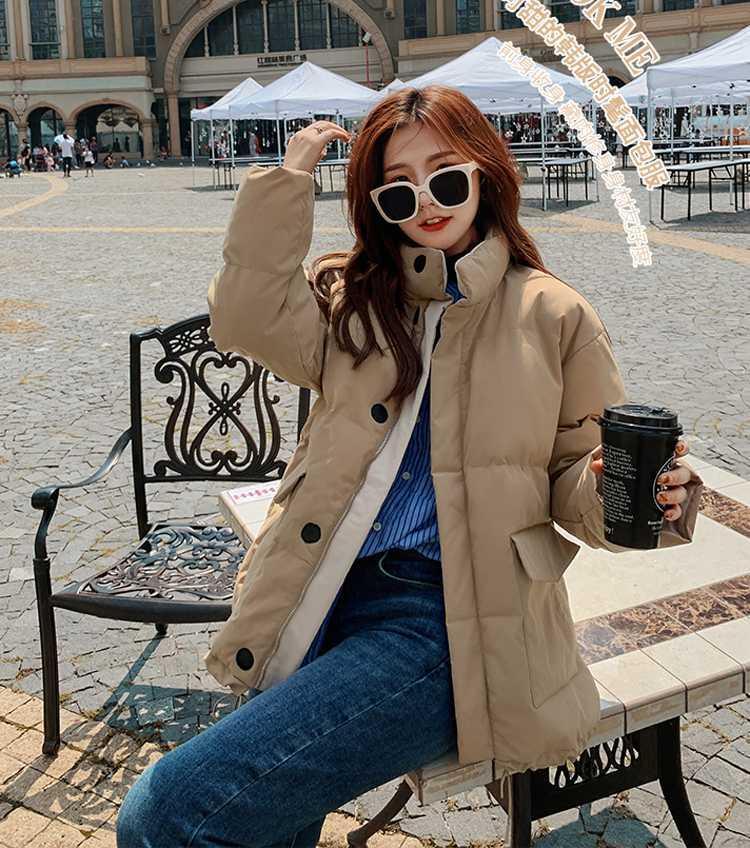 Gerçek atış yeni pamuk ceket kadın kısa renk eşleştirme Kore ekmek ceket öğrenci stand-up yaka küçük yastıklı