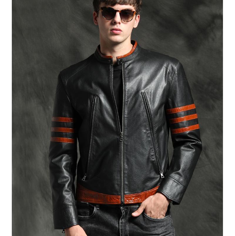 Cappotto di pelle di pecora nera a maniche lunghe in cuoio da uomo