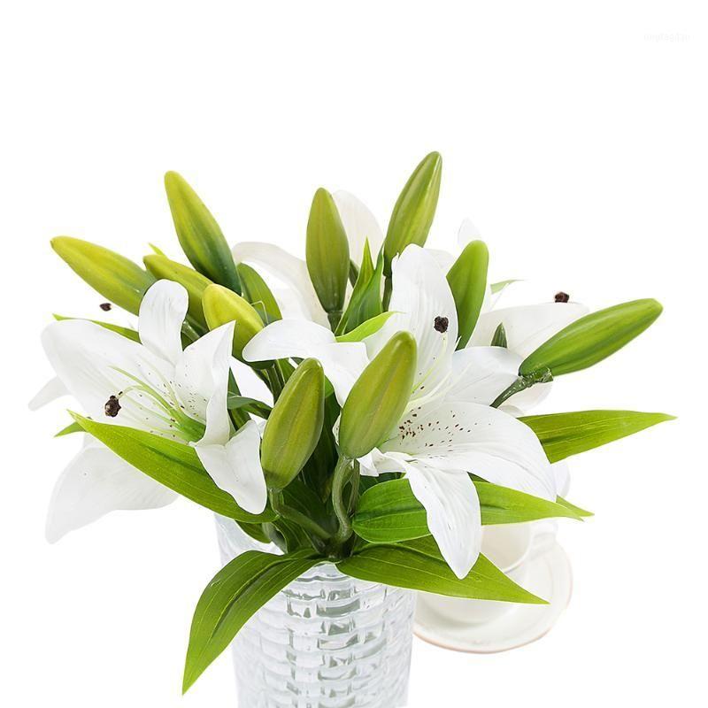 Декоративные цветы венки 1 шт. Высушенные ПВХ духи лилия свежий стиль украшения искусства для дома крытый декор свадебный романтический пропорция1