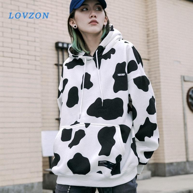 Mignon de vache laitière Kpop Tee shirt surdimensionné chaud de poche Sweat à capuche hiver Harajuku Hoddies lâche Imprimer Polerones Mujer