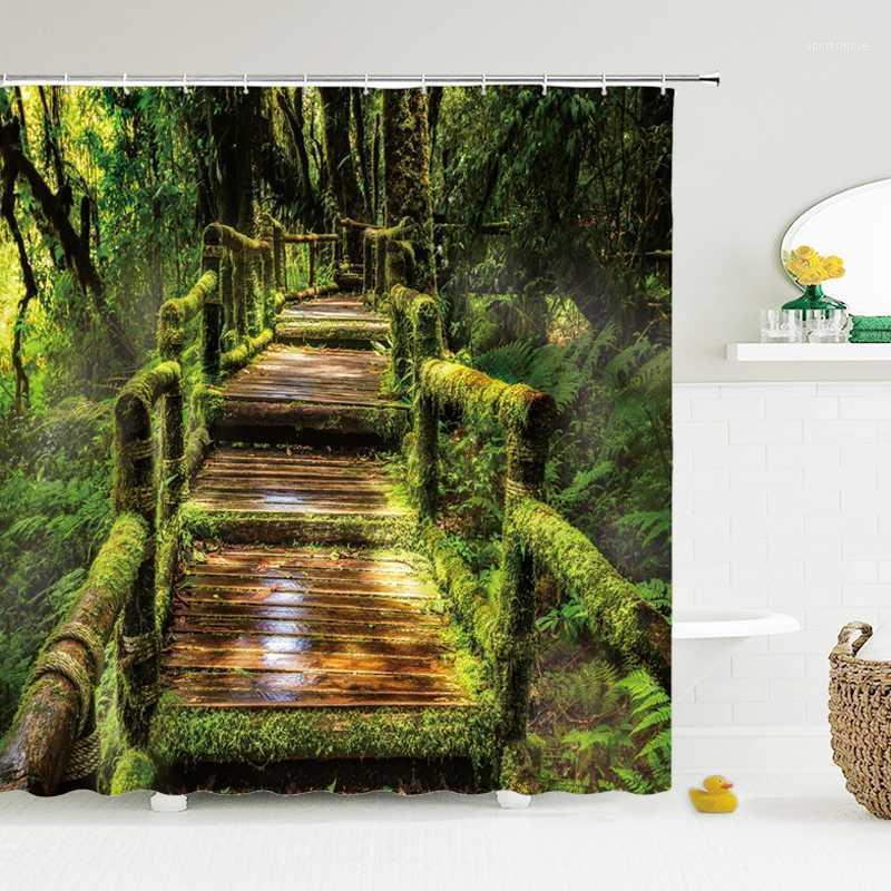 Floresta natural paisagem chuveiro cortinas de alta qualidade impermeável chuveiro cortina árvore paisagem banheiro cortina poliéster tecido1