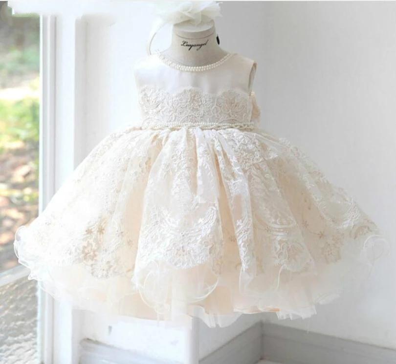 Bebek Kız Elbise Parti Ve Düğün Prenses Dantel Kızlar Tül Elbise Vaftiz Vaftiz 1st Doğum Günü Prenses Balo Diz Boyu