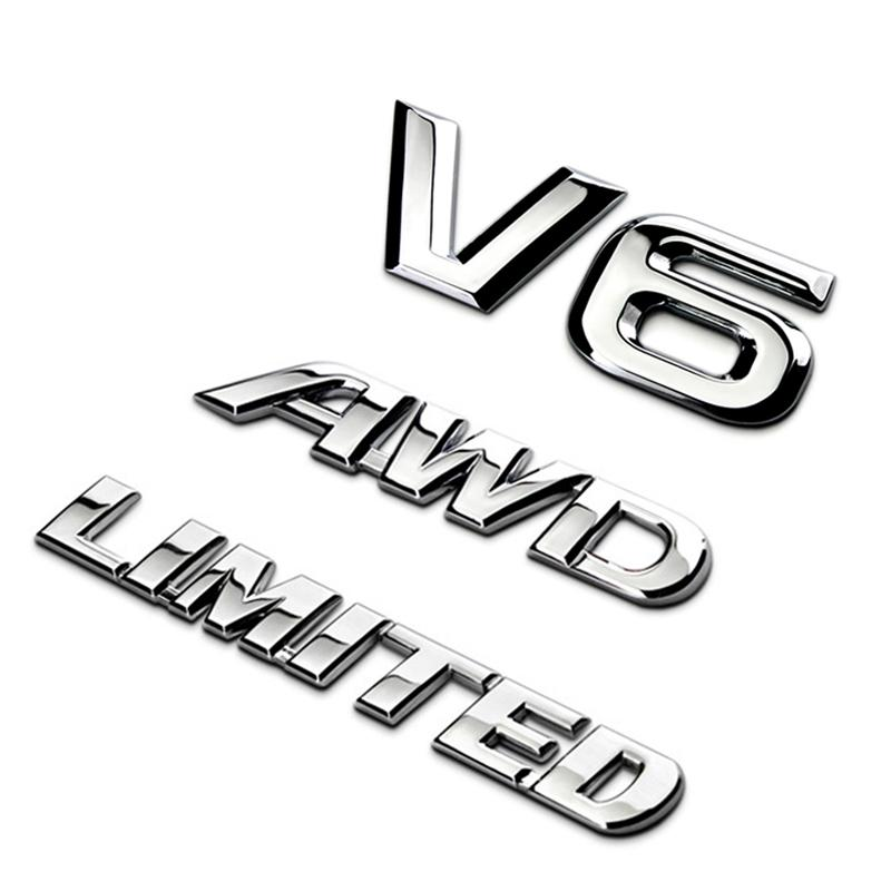 Autozubehör für Toyota Highlander 3D Metall Chrom Auto Heckkoffer Emblem V6 Aufkleber Sport Awd Aufkleber Limited Abzeichen Upscale