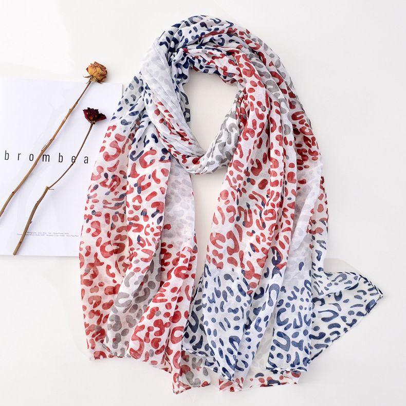 Lusso-commercio estero Esportazione Leopardo stampa stampa sciarpa in cotone sciarpa di seta sciarpa Colore Corrispondenza a colori lunghi decorativi Garza