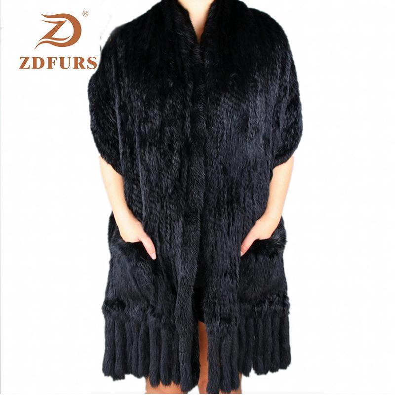 Zdfurs * Luxusfrauen echte echte gestrickte Kaninchen-Pelzschals mit Quasten Lady Pashmina Wraps Herbst Winter Frauen Pelzschals F1211