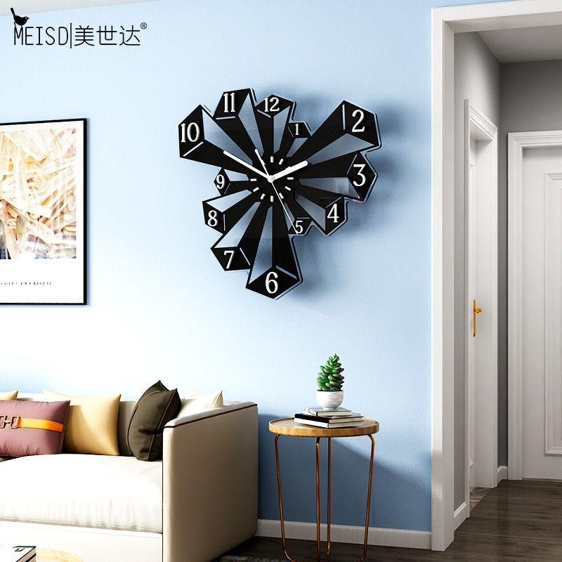 Meisd diseño moderno reloj grande reloj creativo arte dibujar cuarzo silencioso relojes negros colgando Horloge Decoración para el hogar Envío gratis Q1124