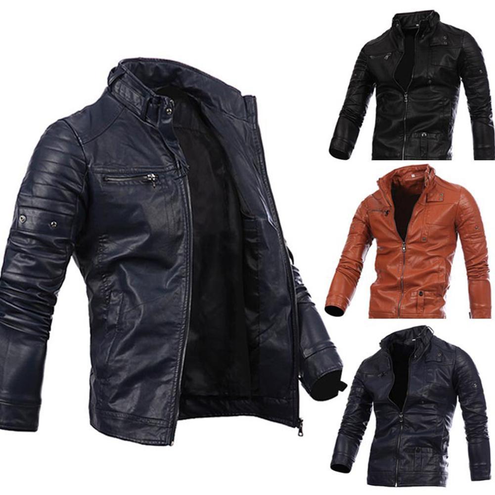 Motocicleta causal vintage abrigo traje moda motocicleta cremallera bolsillo diseño pu chaqueta de cuero hombres