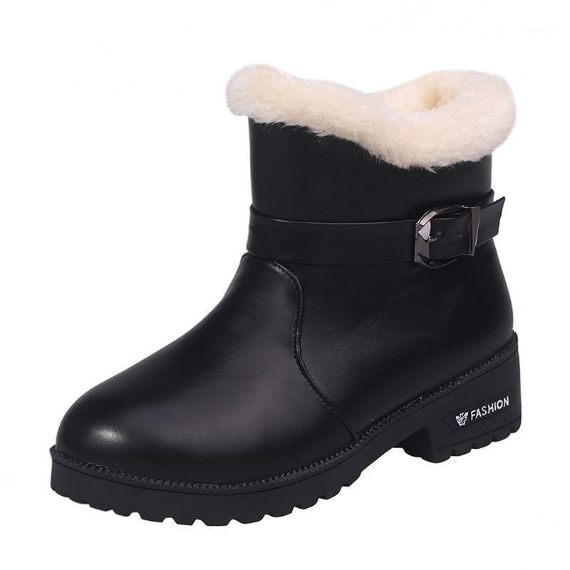 Boots Women Winter Simple Solid Black Snow Ankle Fashion Slip-on Warm Short Plush Soft Fur Plus Size 35-441
