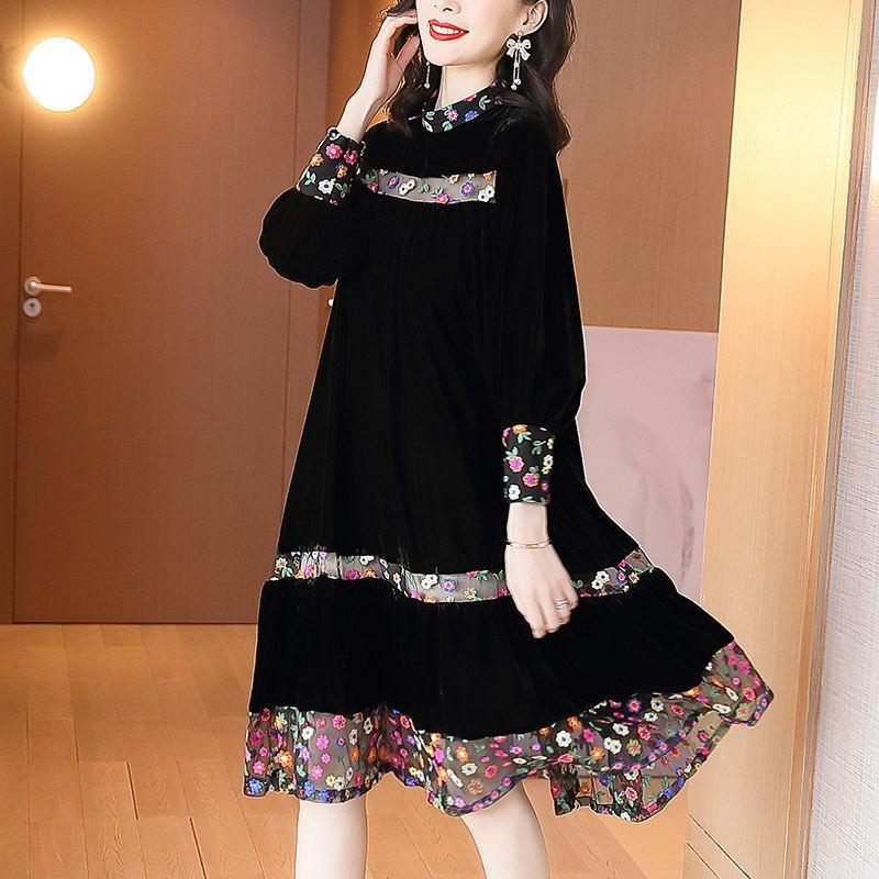 Elegante vintage floral preto veludo midi vestidos outono retrata 4xl plus size vestidos mulheres bodycon party vestidos 201125