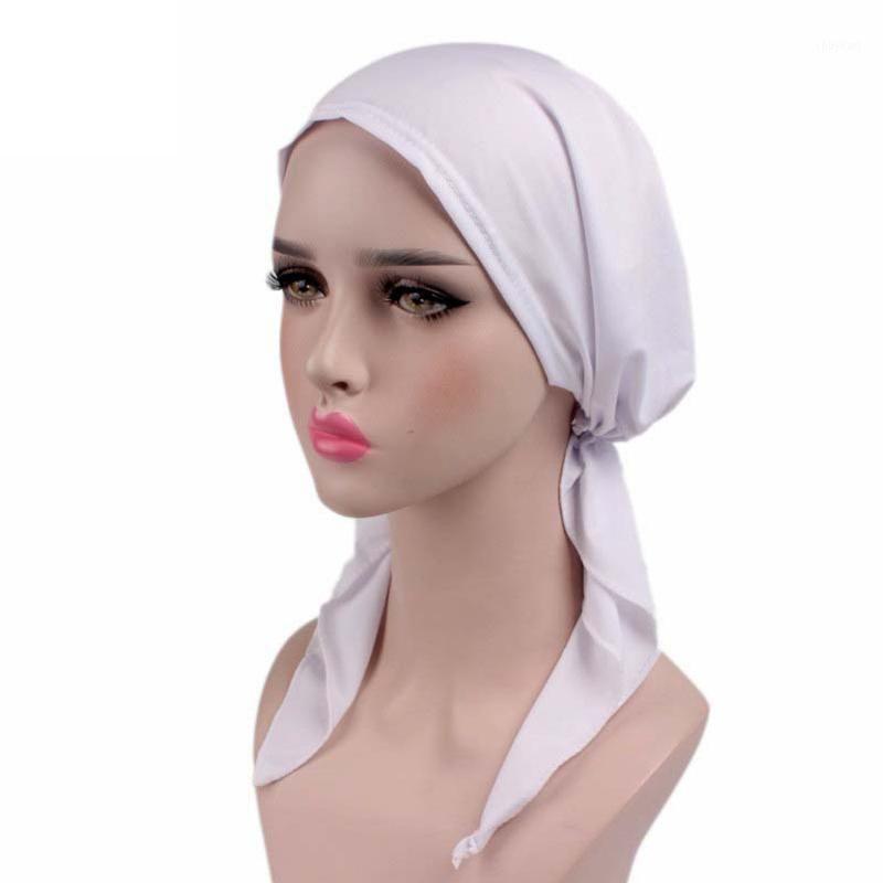 solido bandana foulard foulard turbante cappello musulmani chemio cappuccio stretch stoffa india tappo nero cappello cappello cappello testa involucro cocker cancro lungo 1