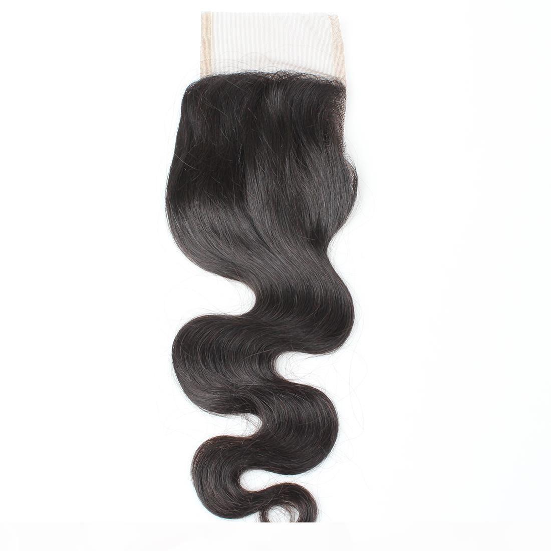 8A Jungfrau Menschliches Haarverschluss 4 * 4 Body Wave Schweizer Spitze Verschluss Mitte Freies Drei Teil Brasilianische peruanische malaysische indische Haarverlängerungen