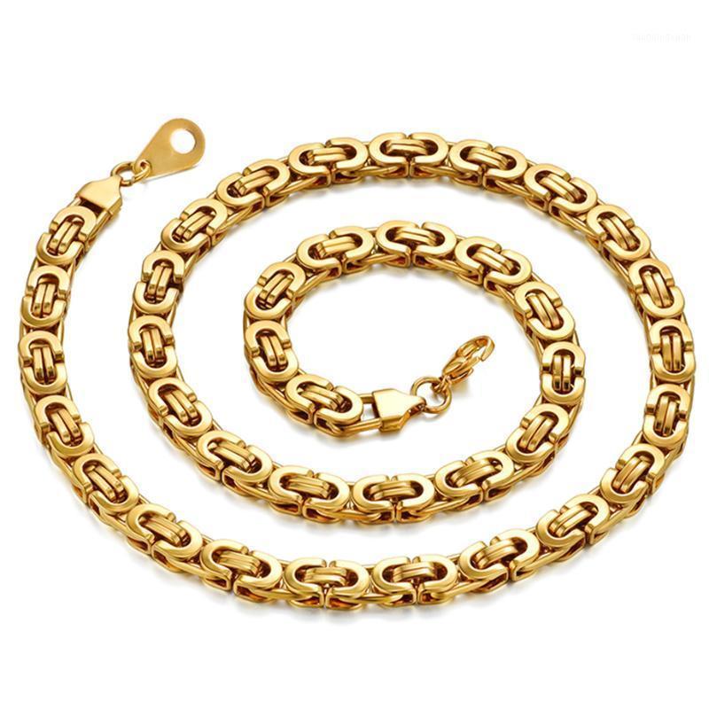Collana a catena bizantina in acciaio inox da uomo Collana a catena 6 / 8mm in argento oro Collane a catena piatta per uomo gioielli maschili XL13041