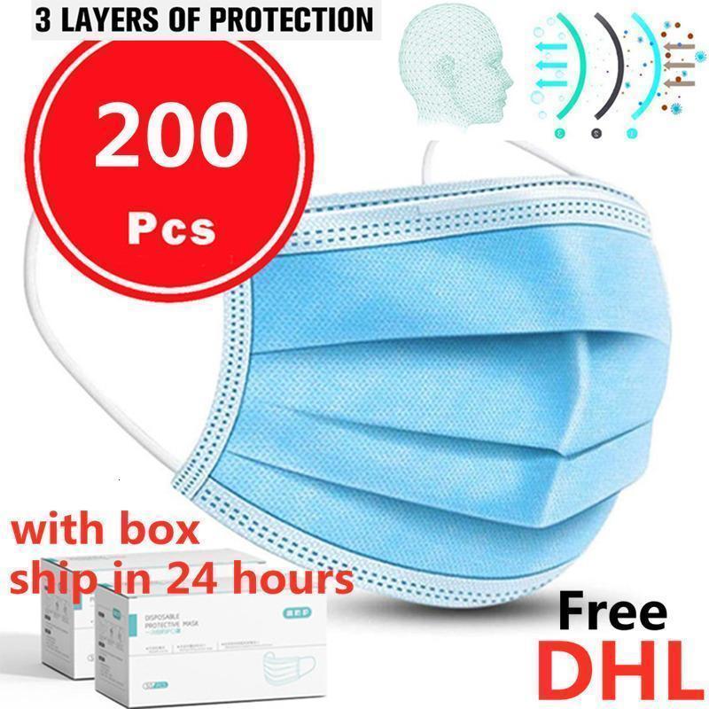 Máscaras descartáveis 3 Azul Frete Grátis Rosto DHL Layers Respirável para bloquear a máscara de boca anti-poluição de ar de poeira com caixa1