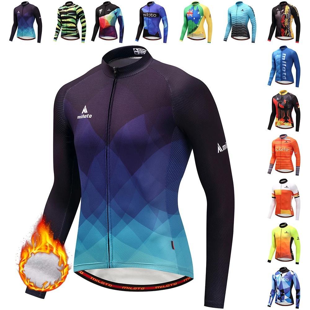 2021 Miloto Winter Thermal Fleece 자전거 긴 소매 사이클링 저지 남성 의류 프로 팀 야외 자전거 의류 Ropa Ciclismo
