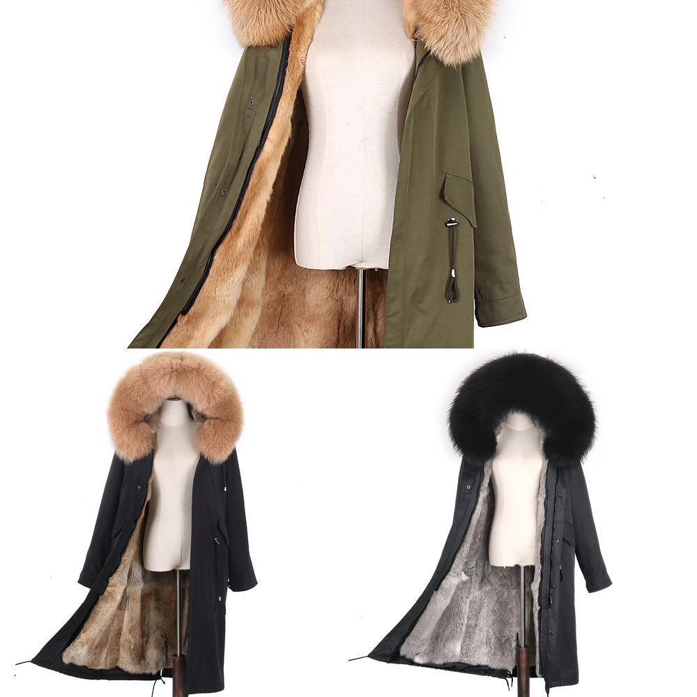 2020 Nuovi Parka Parka Parka Val Fox Cappotto con cappuccio Rex Rabbit Iiner Giacca invernale Giacca naturale Pelliccia naturale ParkaSx1019