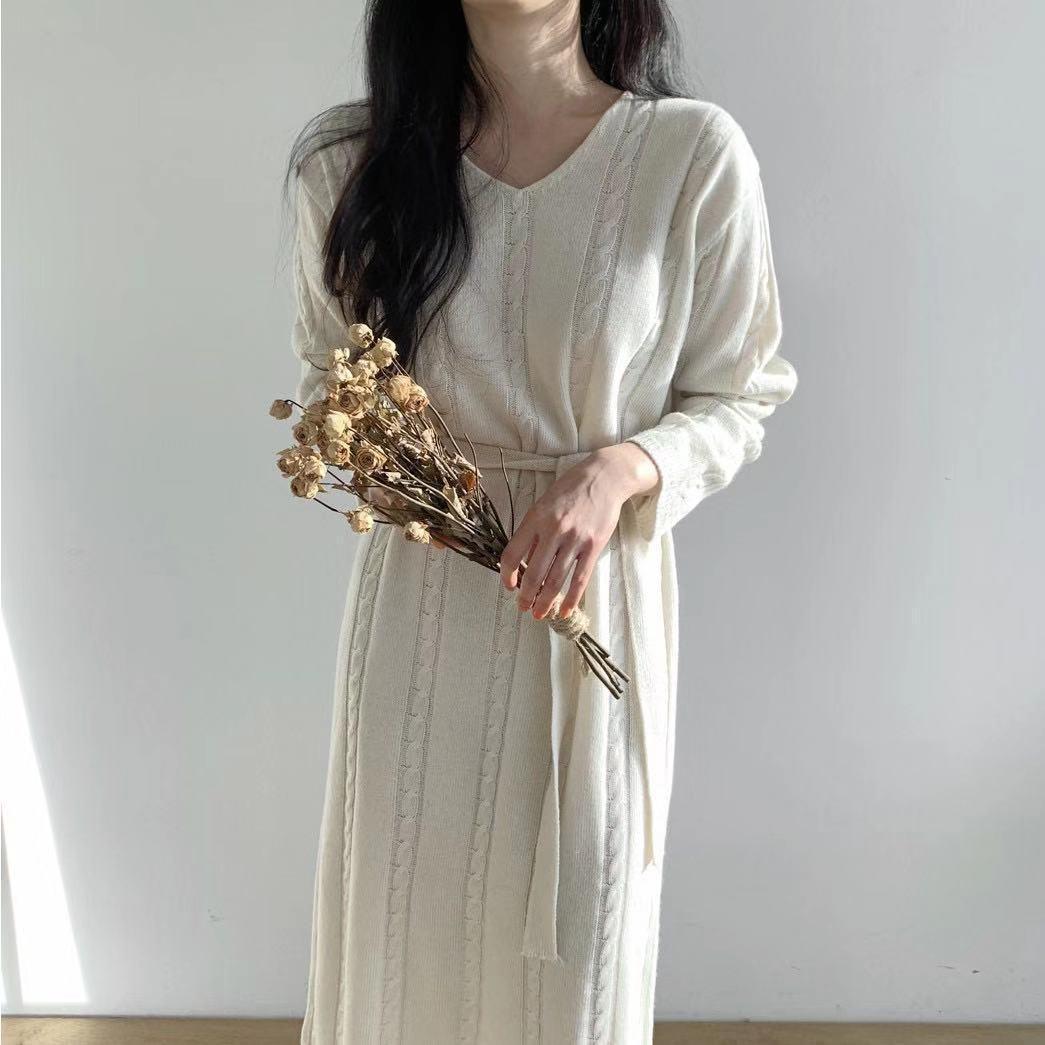 Feminino Cross-fronteiriço 2020 outono e inverno solto espessa camisola torção de malha vestido longo