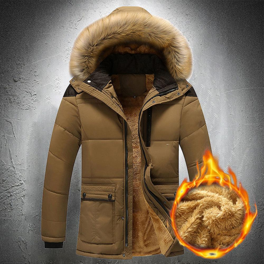 Men's coats outward parka leather hoodie outdoor jacket with velour zipper lined large winter man's coat