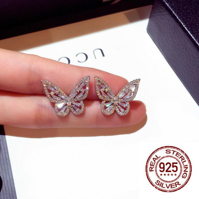 Stud est blanc cubique zircone boucle d'oreille papillon pour femme mariage de mariée bijoux cadeau