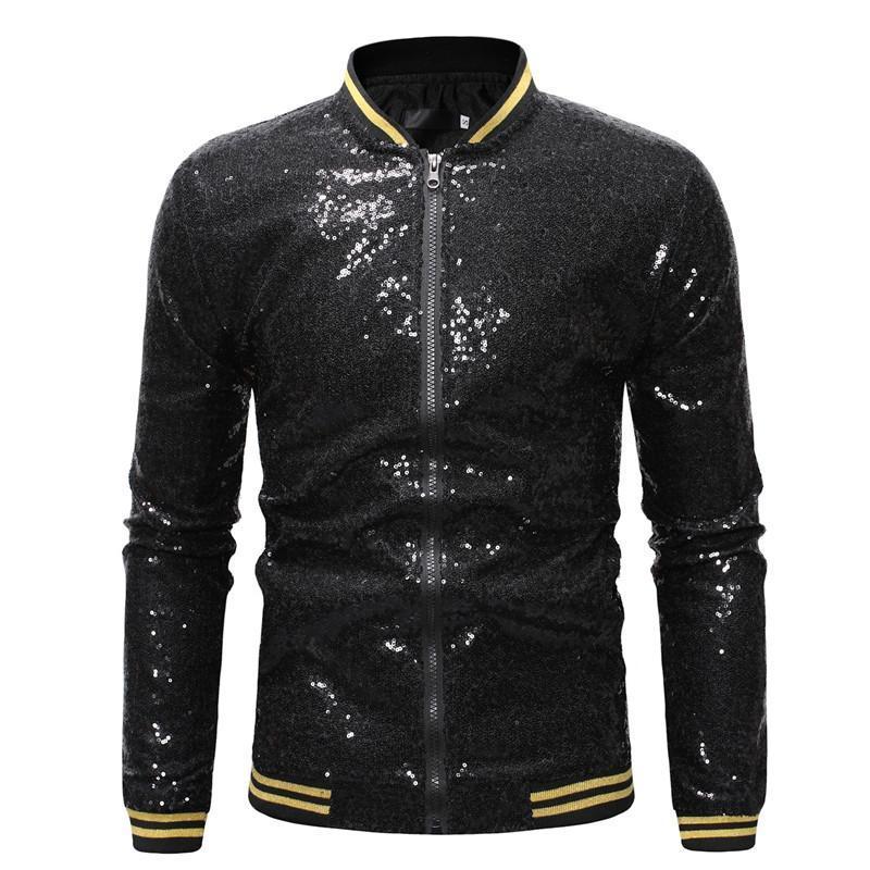 Real de lentejuelas de béisbol real Chaquetas masculinas Hombres discoteca y nueva calle Streetwear para hombre lentejuelas 2021 chaqueta de otoño abrigos chaqueta bomber azul HMIUX