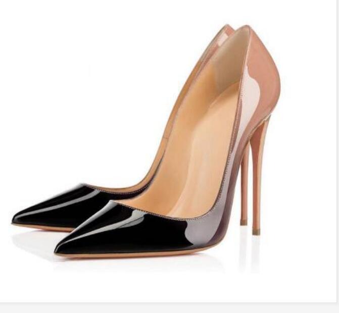 2021Free Nakliye Yüksek Kalite Moda Ve Lüks Bayan Kırmızı Soled Yüksek Topuklu, Patent Deri Parti Düğün Ayakkabı Orijinal Kutu 34-42