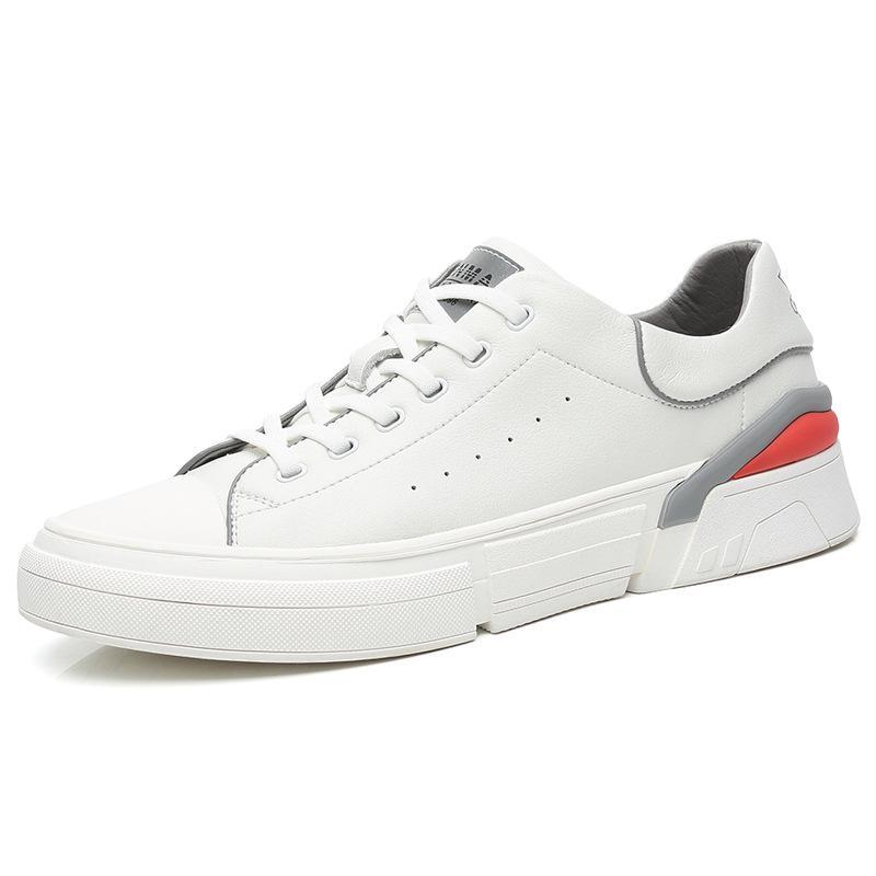 20 Yeni Sonbahar Yeni Kore Deri erkek Rahat Ayakkabılar Beyaz Vahşi Moda Rahat Düşük Kesilmiş Nefes Sneakers