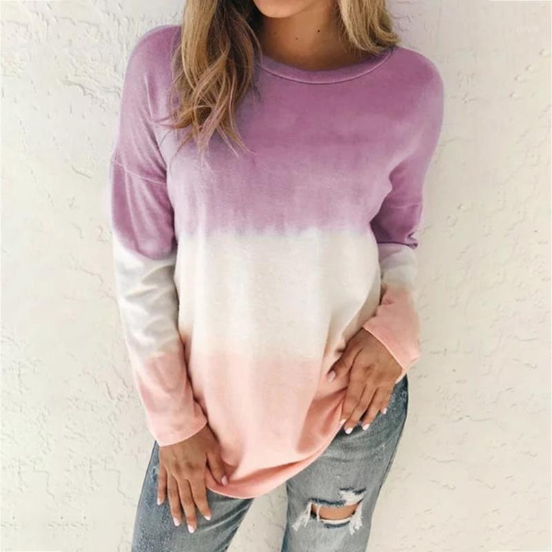 2021 Autumn Winter Tshirt Womens Casual Tie Dye Print Shirts O-neck Long Sleeve Top Loose T-shirt Plus Size 5xl Basic Clothes1