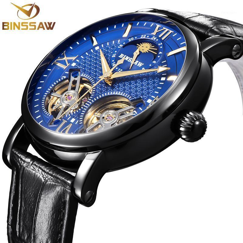 Armbanduhren Binssaw Automatische mechanische Uhr schwarz tourbillon lässig leder wasserdichte sportuhren relogio masculino1