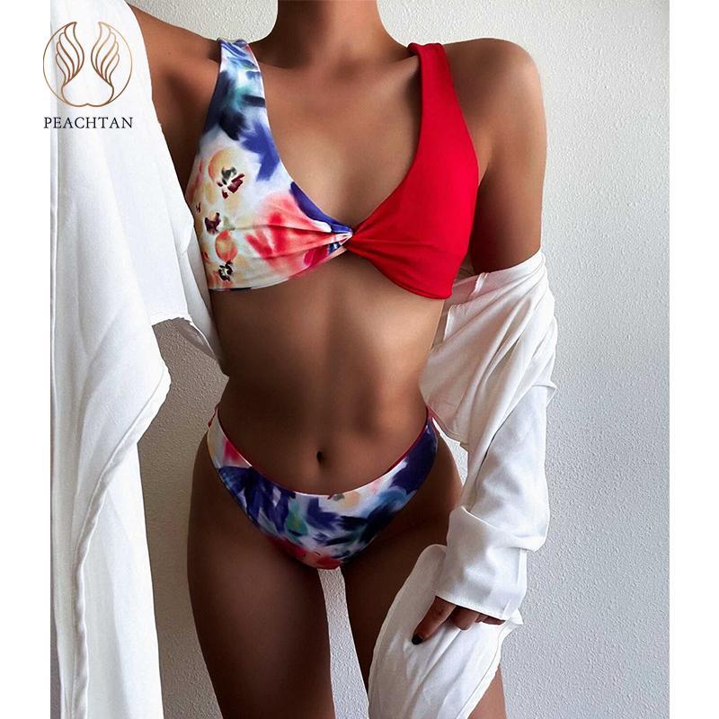 Peachtan Bandeau Bikini 2021 Impression florale Maillot de bain Femme Rouge Patchwork Maillot de bain Maillot de bain Féminin Élégant Suit Suivre Swim Biquini J1208