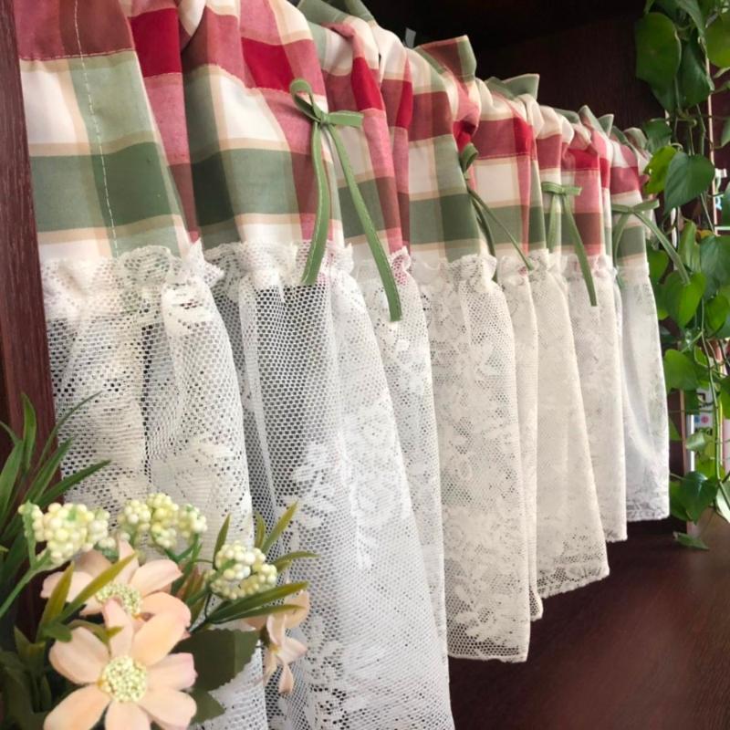 Kırmızı yeşil ekose düğüm-yay splice beyaz dantel dekoratif kısa perde ev çok fonksiyonlu toz geçirmez perde özelleştirilebilir