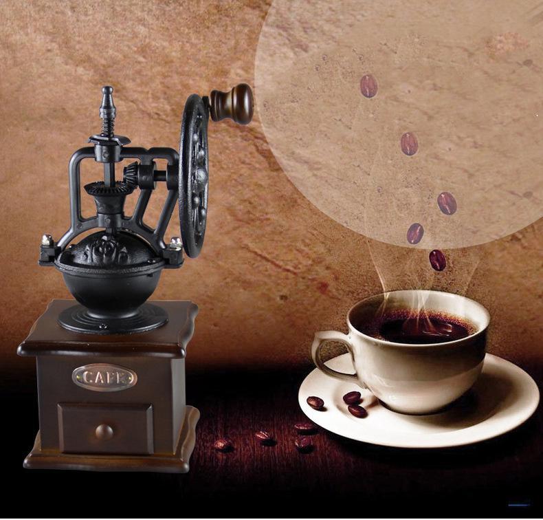 Manual manípulo do feijão de café Moedor Retro Estilo Ferris Roda Cerâmica Burr Núcleo de Moagem Home Moagem Selecionável Espessura Lateral Lateral