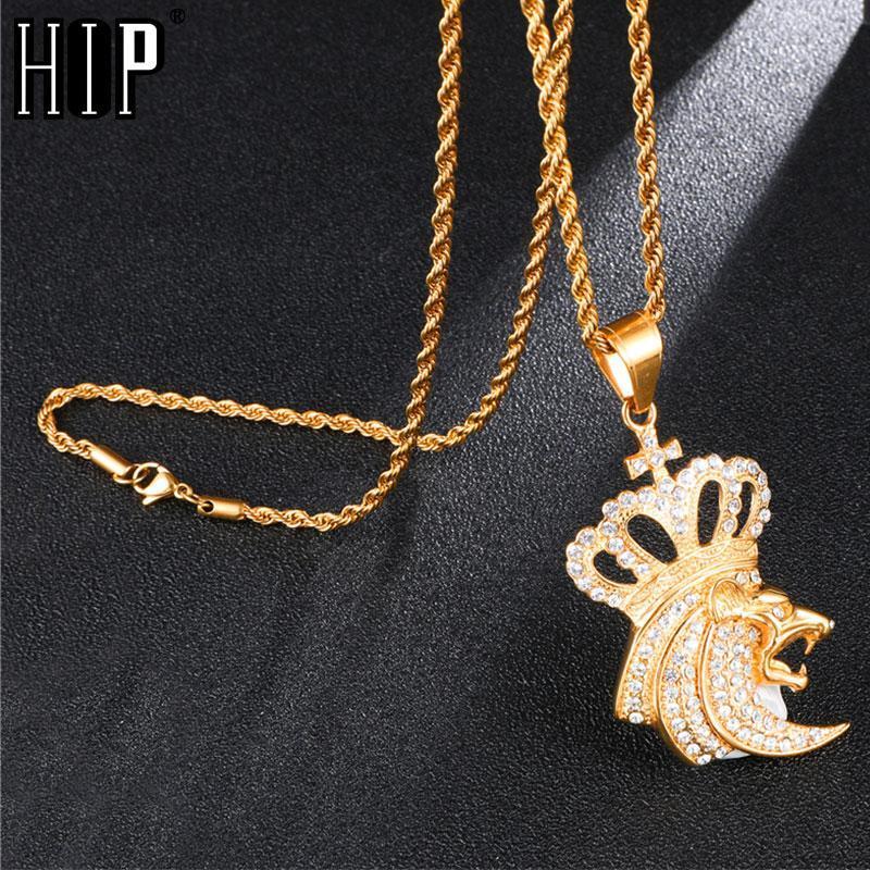 Hip Hop Bling Euro Out King Crown Lion Halskette Strass 316L Edelstahl Gold Halsketten Anhänger Für Männer Schmuck