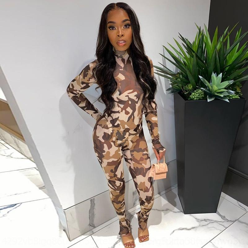 IEGw Geometric Pattern Mesh Women Outfits Two Pieces Sexy See Through Spaghetti Pants Bodysuit+long Nightclub Bar Party Top Suits Summer