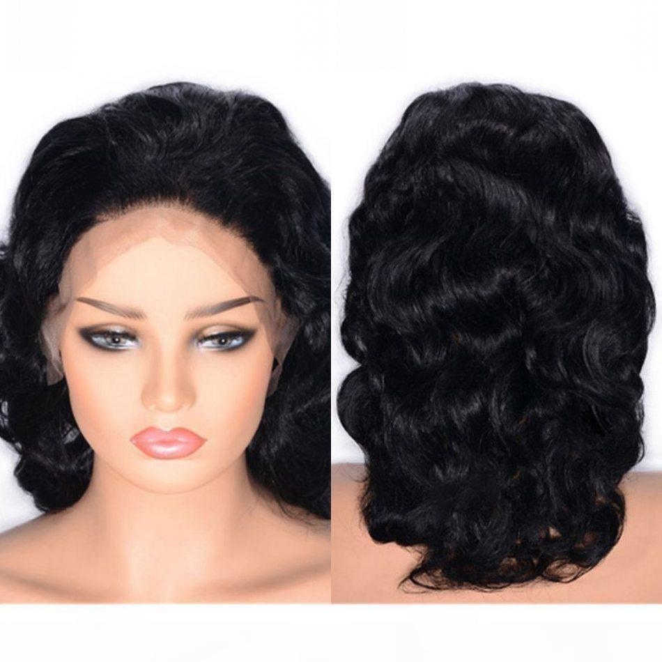 Глинестые кружевные фронтальные парики Камбоджийской кузовной волны Человеческие волосы парик 130% плотность предварительно сорванный волос натуральные волосяные