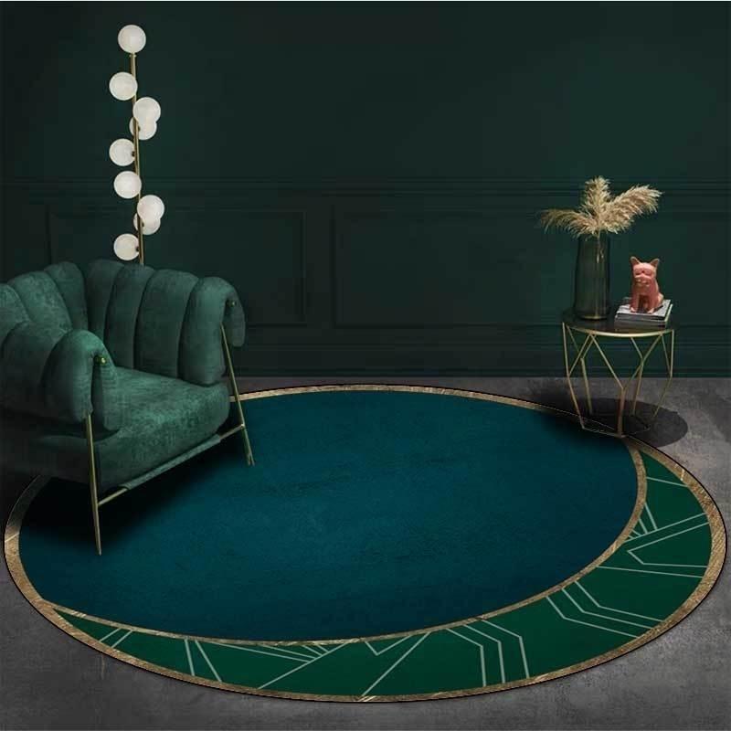 Color de costura verde oscuro Alfombra redonda Alfombras suaves para sala de estar Antideslizante Silla de ruedas Silla de piso Suelo Dormitorio Decoración Alfombra 201212