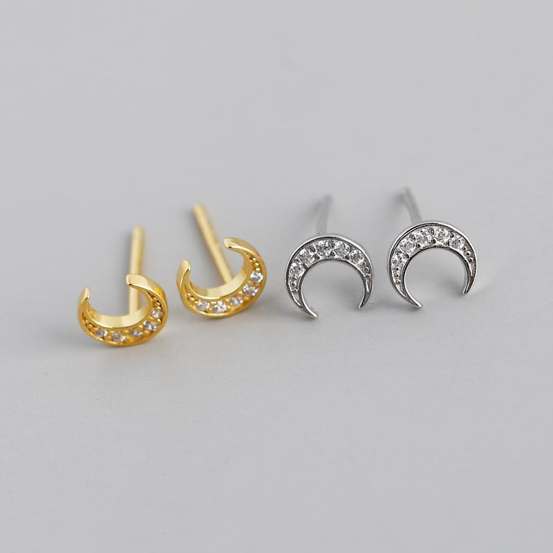 Hot selling diamante versátil moda moon forma s925 brincos puros feminino sier jóias