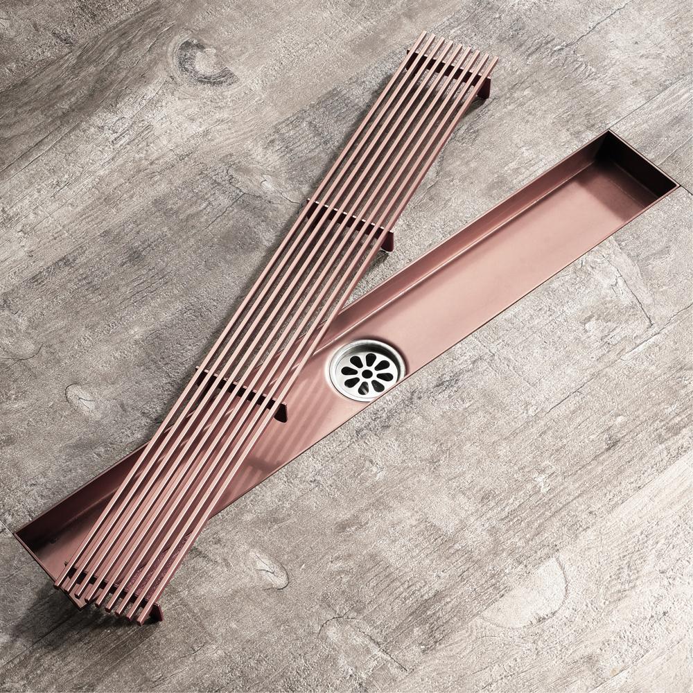 304 스테인레스 스틸 바닥 드레인 브러시 골드 컬러 욕실 샤워 드레인 60cm 깨끗한 여과기 긴 드레인 청동