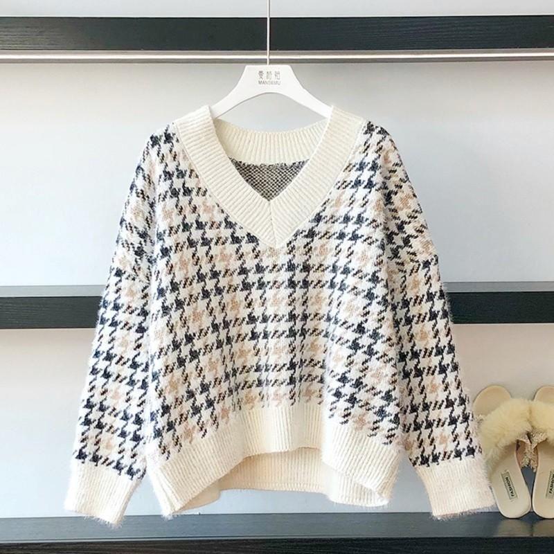 Lose pullover frauen herbst und winter neue v-neck mode faule top