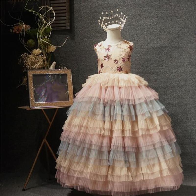 2020 nuevos vestidos de niña de flores largas para el encaje de boda en escala de niñas pequeñas vestido de fiesta vestido de fiesta