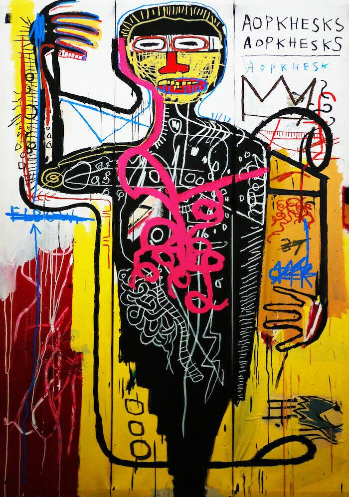 Jean Michel Basquiat Abstract Art Art Decor Handpainted HD Stampa pittura ad olio su tela Wall Art Canvas Immagini, F201201