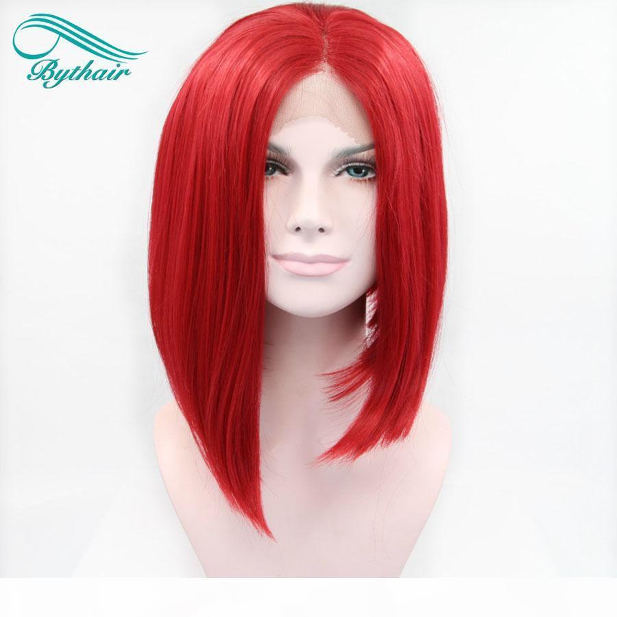 Bythair Kısa Bob Kırmızı Renk Saç Peruk Tutkalsız El Bağlı Sentetik Dantel Ön Peruk Kadınlar Için Isıya Dayanıklı Fiber Saç
