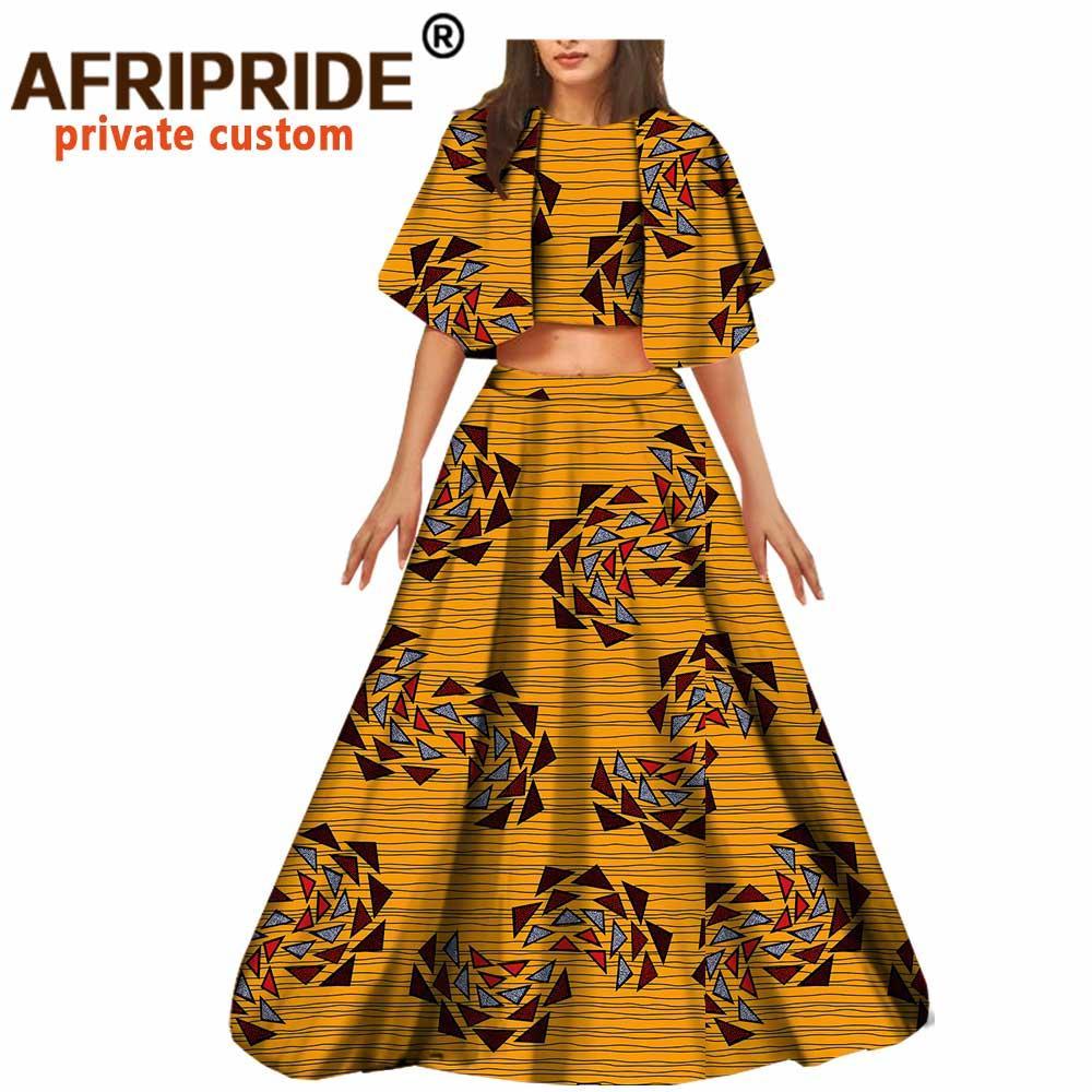 2021 Африканский 2 шт для женщин Урожай Верхняя юбка Дашики Наряды Печать Одежда Одежда Ankara Kindire Maxi Платье Плюс Размер Свободный A722675