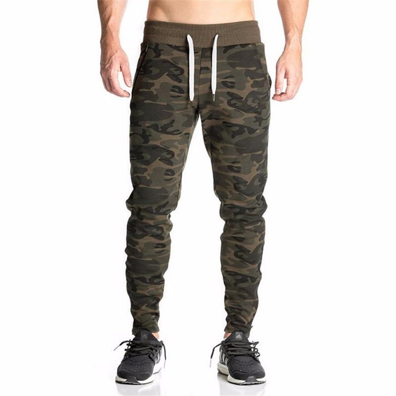 New Casual Fitted Tracksuit Bottoms Camouflage Gym Pants Mens Sports Joggers Elastic Sweat Pants Gym Bodybuilding Sweatpants