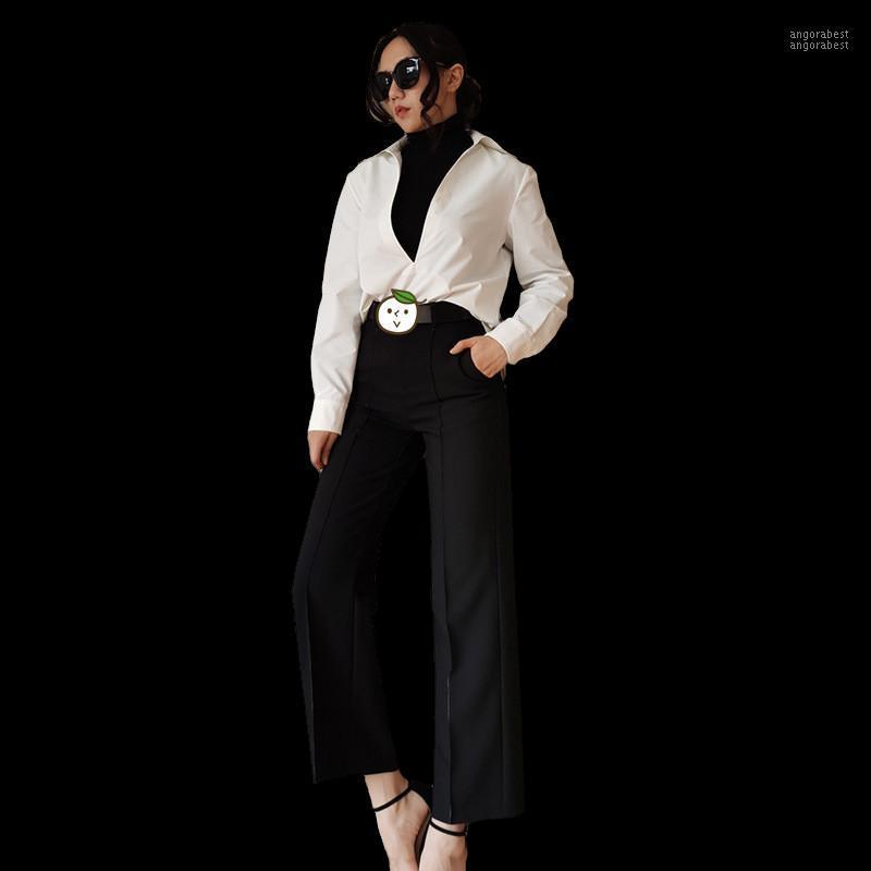 Herbst Frauenanzug Gerade Weibliche Hosen Koreanische Stil Slim Formale Set Schwarz Hosen Weißes Hemd Top1