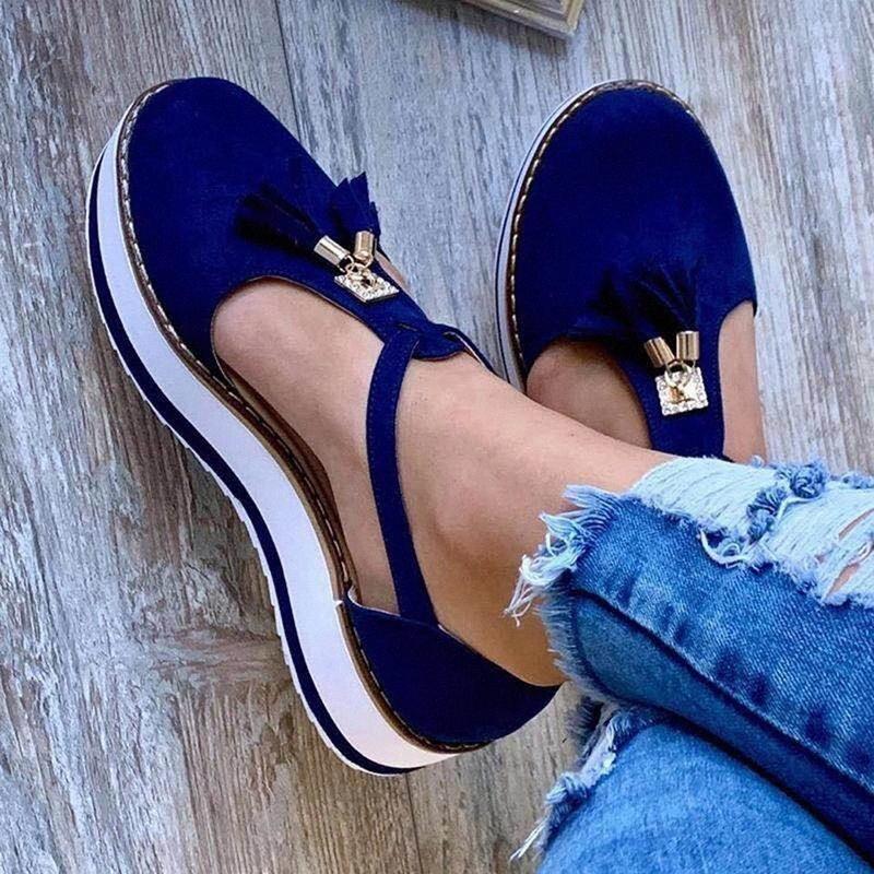 2020 старинные сандалии женщины плоские платформы женские швейные туфли мода кисточка удобные сандалии женские Chausures лето # HR87